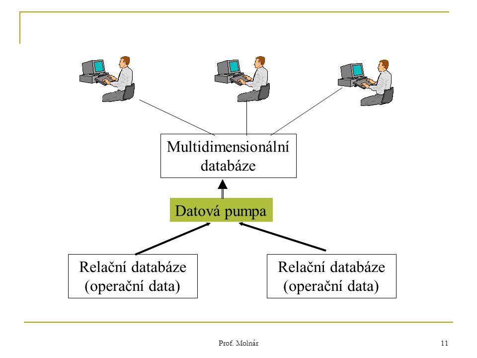 Prof. Molnár 11 Relační databáze (operační data) Multidimensionální databáze Datová pumpa Relační databáze (operační data)