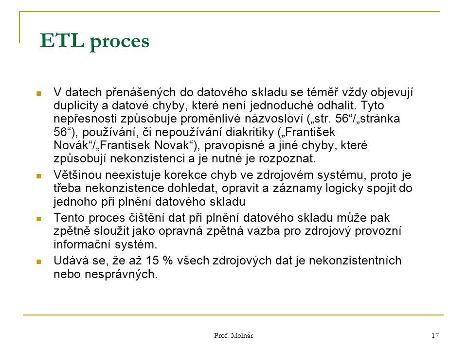 Prof. Molnár 17 ETL proces V datech přenášených do datového skladu se téměř vždy objevují duplicity a datové chyby, které není jednoduché odhalit. Tyt