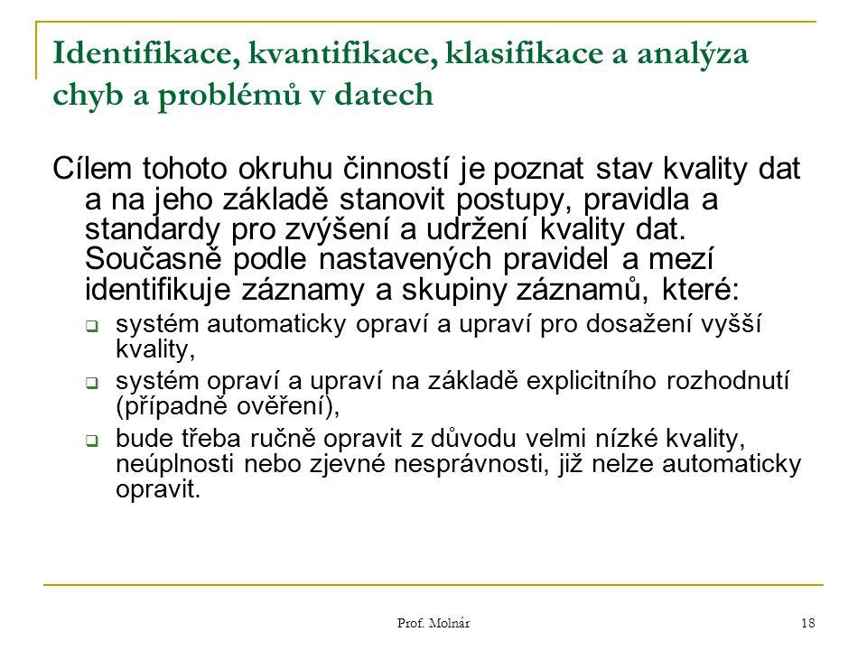 Prof. Molnár 18 Identifikace, kvantifikace, klasifikace a analýza chyb a problémů v datech Cílem tohoto okruhu činností je poznat stav kvality dat a n
