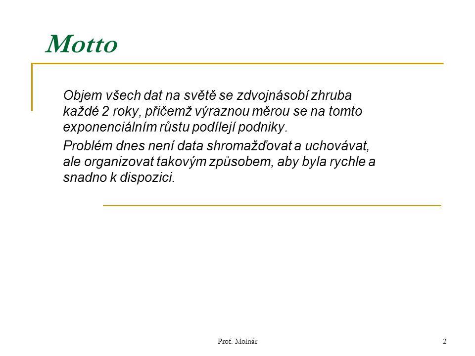 Prof. Molnár2 Motto Objem všech dat na světě se zdvojnásobí zhruba každé 2 roky, přičemž výraznou měrou se na tomto exponenciálním růstu podílejí podn