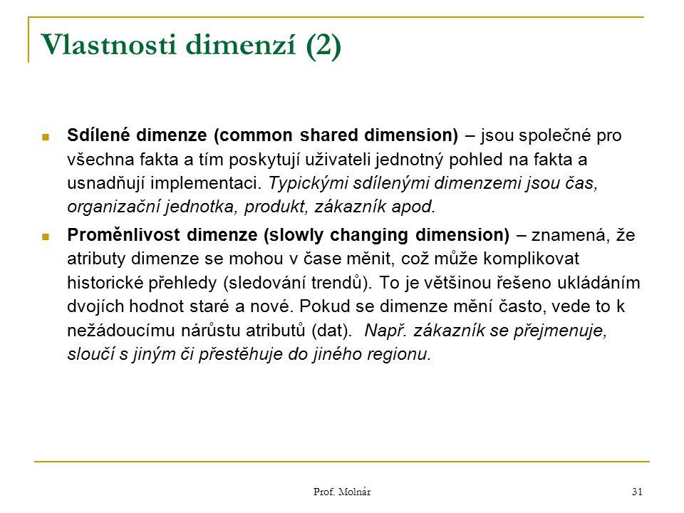 Prof. Molnár 31 Vlastnosti dimenzí (2) Sdílené dimenze (common shared dimension) – jsou společné pro všechna fakta a tím poskytují uživateli jednotný