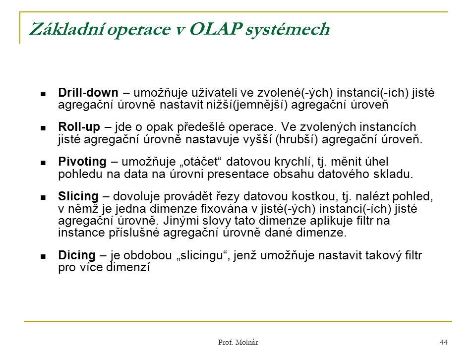 Prof. Molnár 44 Základní operace v OLAP systémech Drill-down – umožňuje uživateli ve zvolené(-ých) instanci(-ích) jisté agregační úrovně nastavit nižš