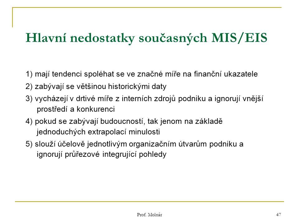 Prof. Molnár 47 Hlavní nedostatky současných MIS/EIS 1) mají tendenci spoléhat se ve značné míře na finanční ukazatele 2) zabývají se většinou histori