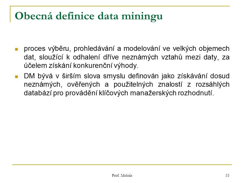 Prof. Molnár 55 Obecná definice data miningu proces výběru, prohledávání a modelování ve velkých objemech dat, sloužící k odhalení dříve neznámých vzt