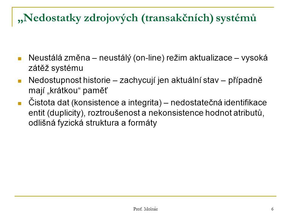 """Prof. Molnár 6 """"Nedostatky zdrojových (transakčních) systémů Neustálá změna – neustálý (on-line) režim aktualizace – vysoká zátěž systému Nedostupnost"""