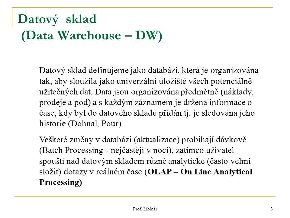 Prof. Molnár 8 Datový sklad (Data Warehouse – DW) Datový sklad definujeme jako databázi, která je organizována tak, aby sloužila jako univerzální úlož