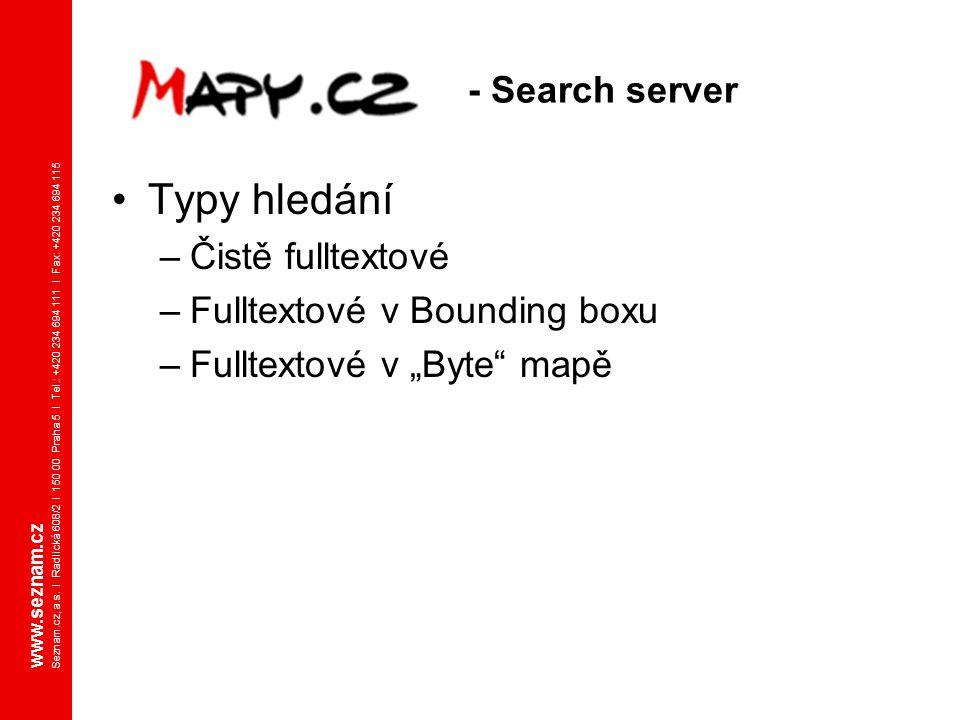 www.seznam.cz Seznam.cz, a.s. I Radlická 608/2 I 150 00 Praha 5 I Tel.: +420 234 694 111 I Fax: +420 234 694 115 - Search server Typy hledání –Čistě f