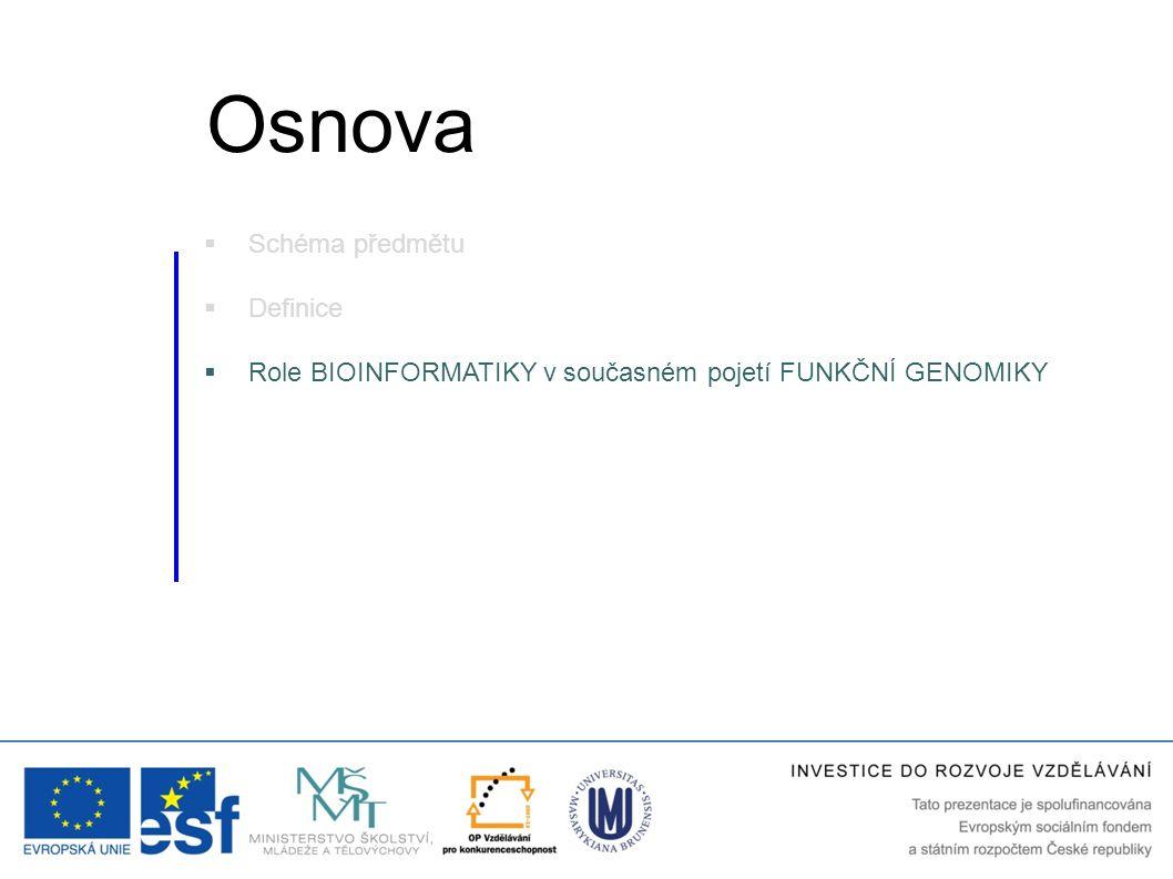  Schéma předmětu  Definice  Role BIOINFORMATIKY v současném pojetí FUNKČNÍ GENOMIKY Osnova