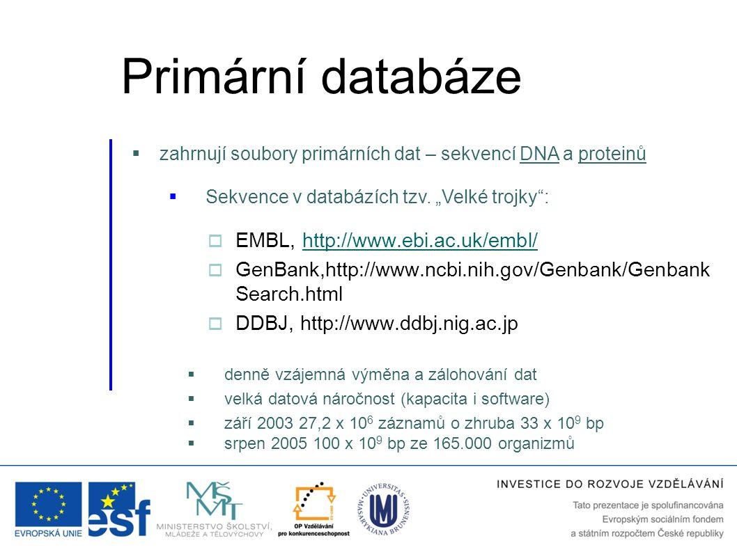  EMBL, http://www.ebi.ac.uk/embl/http://www.ebi.ac.uk/embl/  GenBank,http://www.ncbi.nih.gov/Genbank/Genbank Search.html  DDBJ, http://www.ddbj.nig
