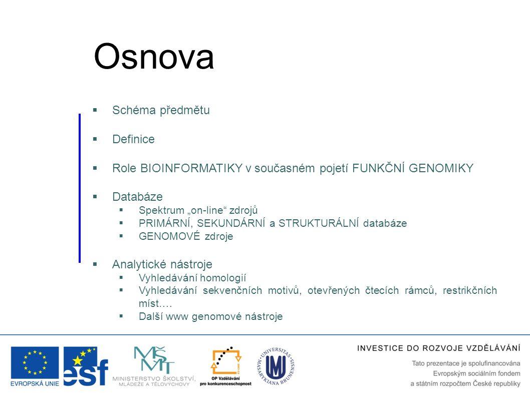 """ Schéma předmětu  Definice  Role BIOINFORMATIKY v současném pojetí FUNKČNÍ GENOMIKY  Databáze  Spektrum """"on-line"""" zdrojů  PRIMÁRNÍ, SEKUNDÁRNÍ a"""