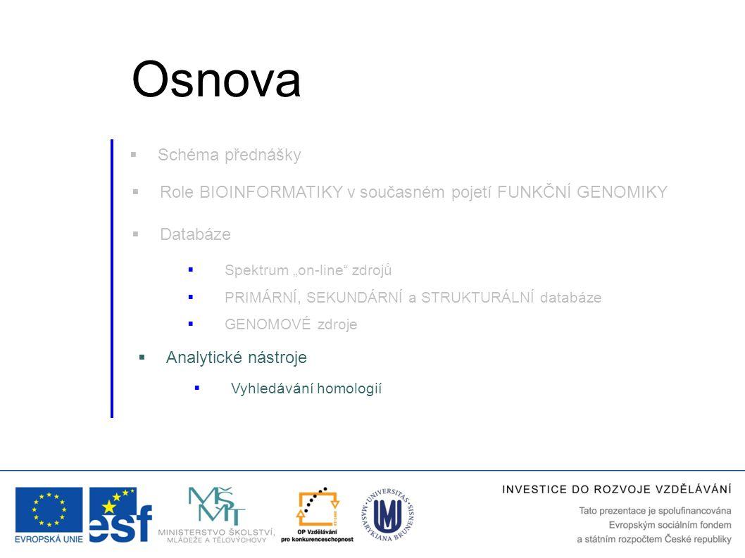 """ Role BIOINFORMATIKY v současném pojetí FUNKČNÍ GENOMIKY  Databáze  Vyhledávání homologií  Analytické nástroje  Spektrum """"on-line"""" zdrojů  GENOM"""