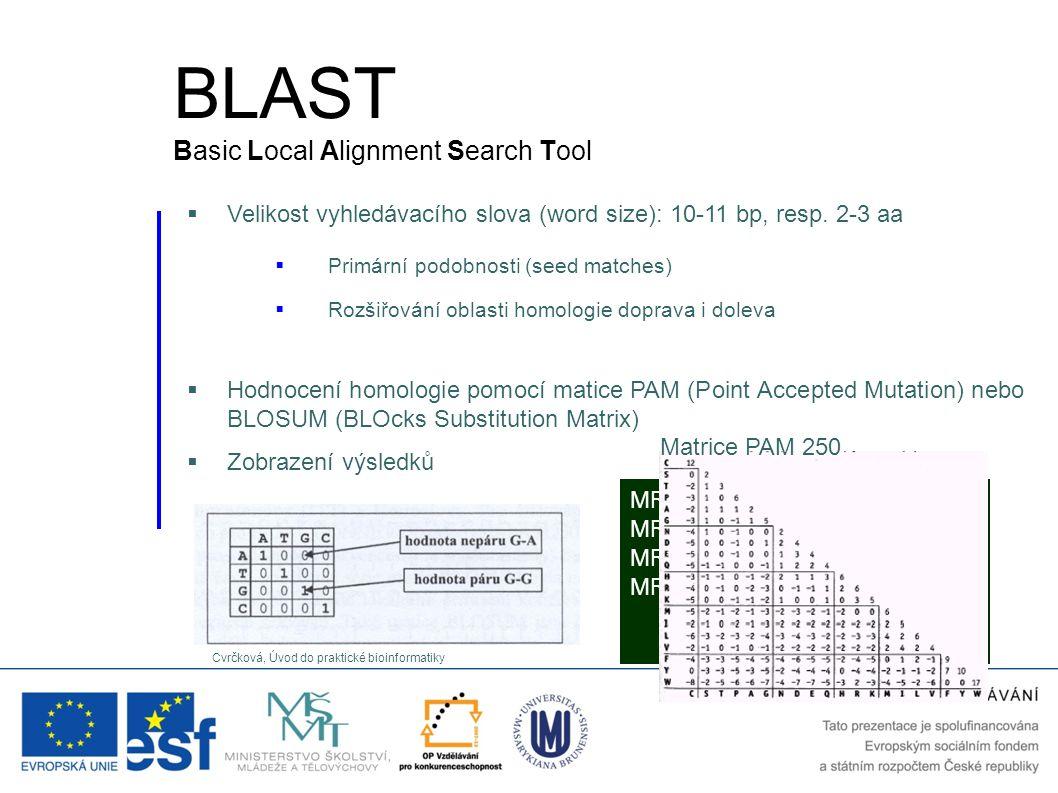  Velikost vyhledávacího slova (word size): 10-11 bp, resp. 2-3 aa  Hodnocení homologie pomocí matice PAM (Point Accepted Mutation) nebo BLOSUM (BLOc