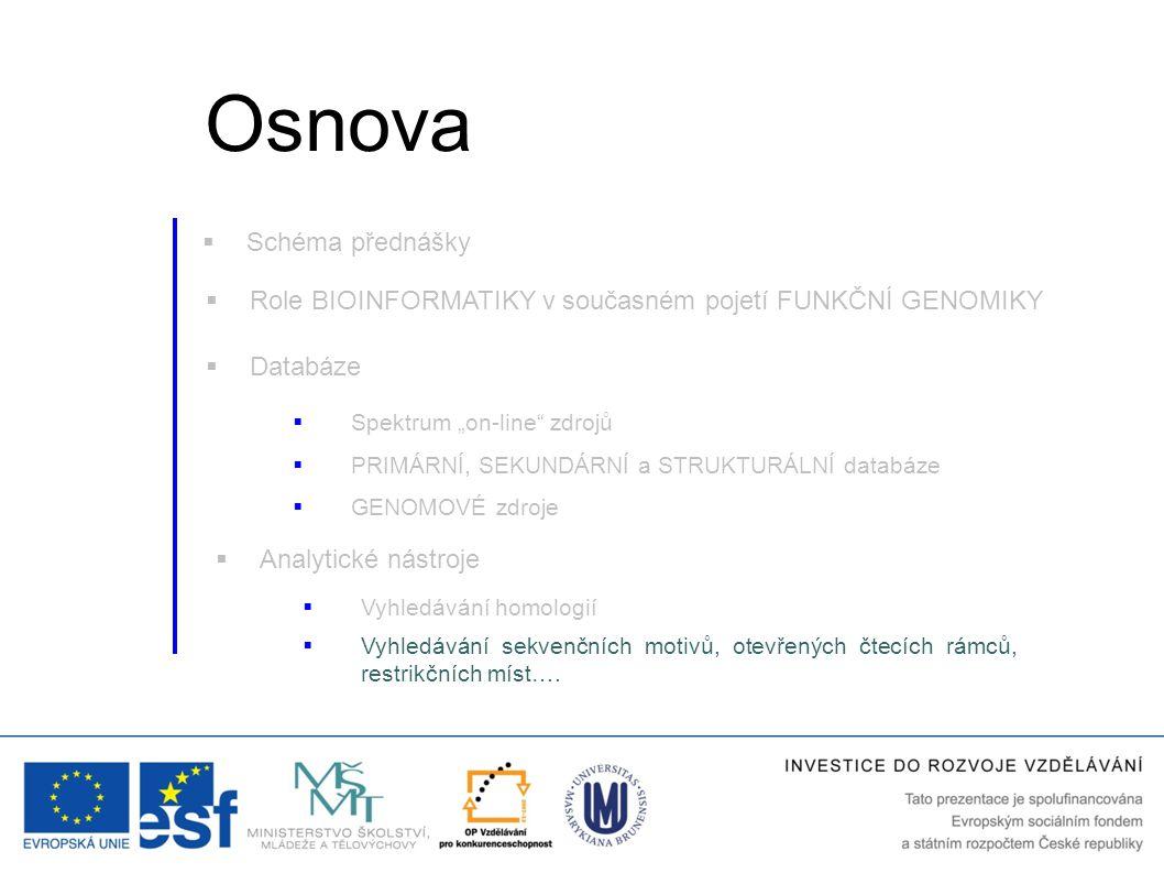 """ Role BIOINFORMATIKY v současném pojetí FUNKČNÍ GENOMIKY  Databáze  Vyhledávání homologií  Analytické nástroje  Spektrum """"on-line"""" zdrojů  Vyhle"""