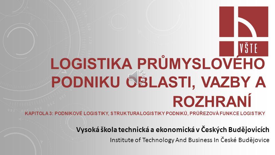 LOGISTIKA PRŮMYSLOVÉHO PODNIKU OBLASTI, VAZBY A ROZHRANÍ KAPITOLA 3: PODNIKOVÉ LOGISTIKY, STRUKTURA LOGISTIKY PODNIKŮ, PRŮŘEZOVÁ FUNKCE LOGISTIKY Vysoká škola technická a ekonomická v Českých Budějovicích Institute of Technology And Business In České Budějovice