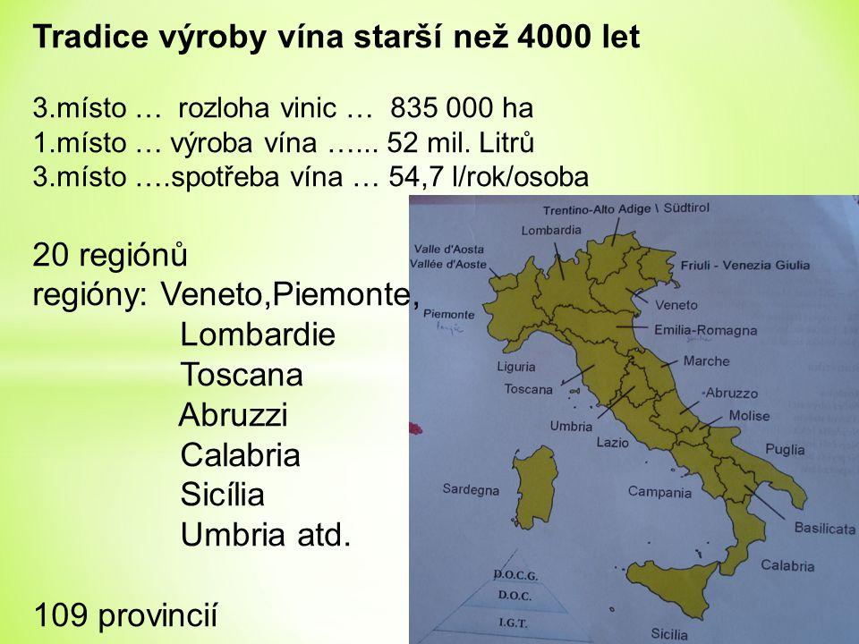 Tradice výroby vína starší než 4000 let 3.místo … rozloha vinic … 835 000 ha 1.místo … výroba vína …... 52 mil. Litrů 3.místo ….spotřeba vína … 54,7 l