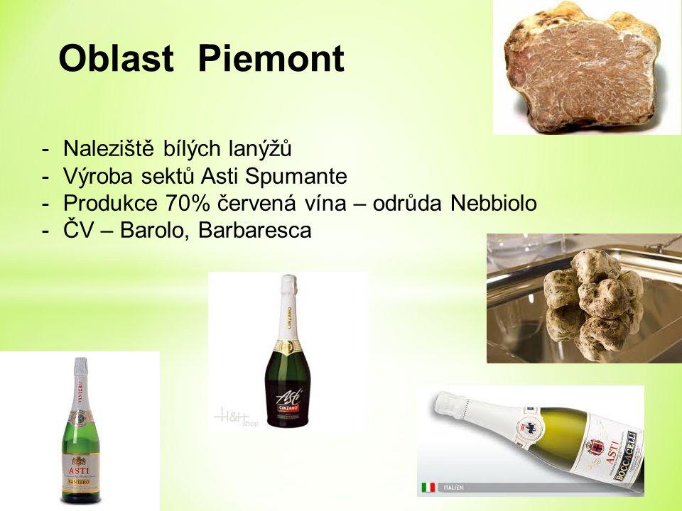 Oblast Piemont -Naleziště bílých lanýžů -Výroba sektů Asti Spumante -Produkce 70% červená vína – odrůda Nebbiolo -ČV – Barolo, Barbaresca