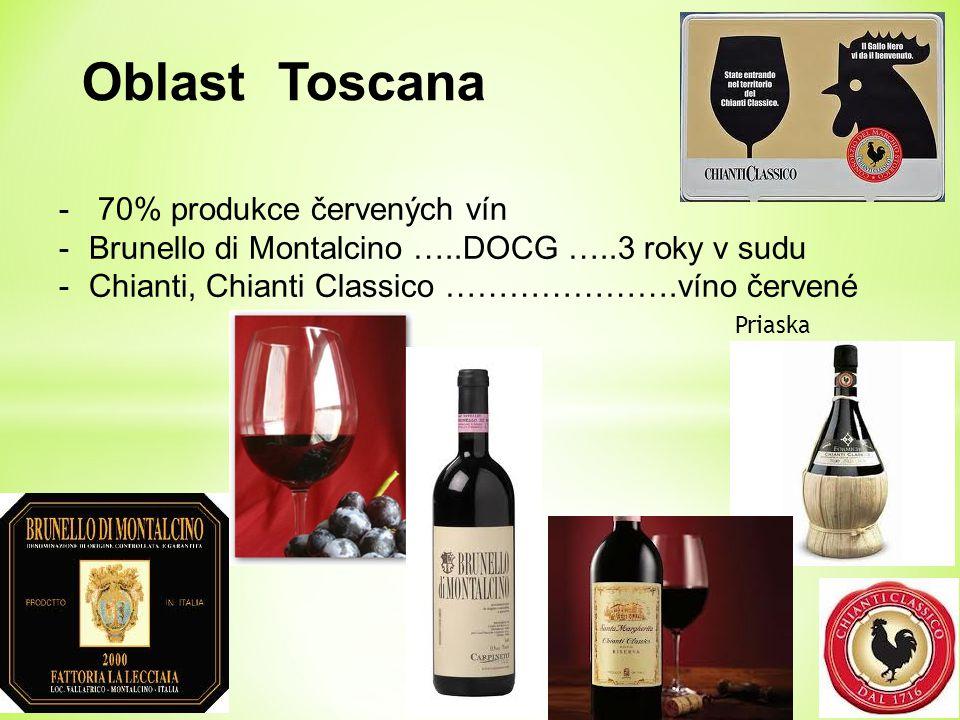 Oblast Toscana - 70% produkce červených vín -Brunello di Montalcino …..DOCG …..3 roky v sudu -Chianti, Chianti Classico ………………….víno červené Priaska