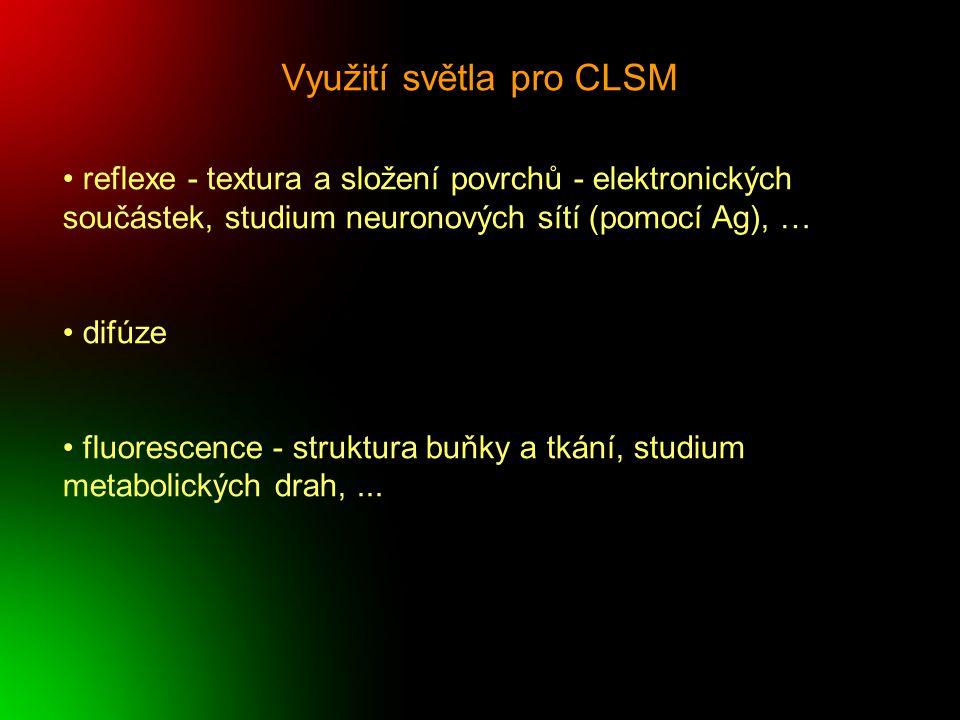 Využití světla pro CLSM reflexe - textura a složení povrchů - elektronických součástek, studium neuronových sítí (pomocí Ag), … difúze fluorescence -