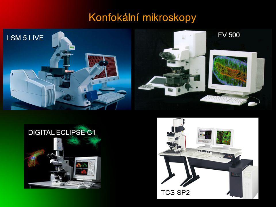 Konfokální mikroskopy FV 500 LSM 5 LIVE TCS SP2 DIGITAL ECLIPSE C1