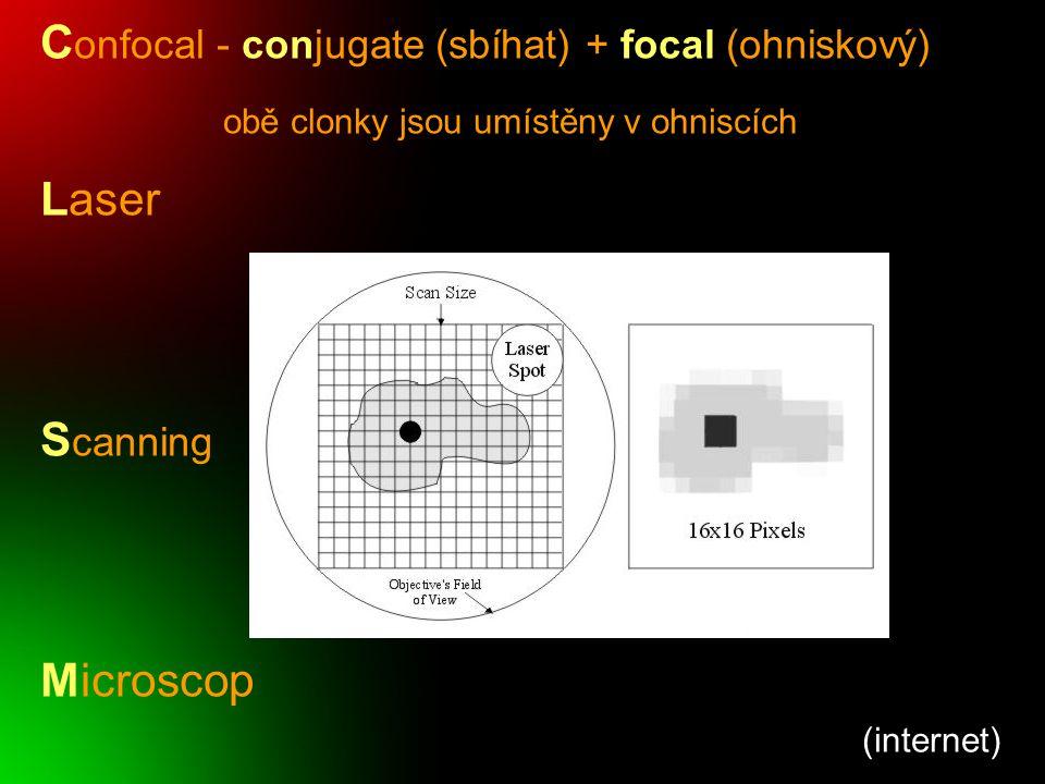 """(Lacey, 1999) Srovnání 3 metod užívaných ve fluorescenční mikroskopii fluorescenční konfokální 2-fotonová laser rtuťová výbojka optický řez (0,5-2µm) excitační světlo pozorovaná oblast oblast excitace ( """"vyhasínání )"""