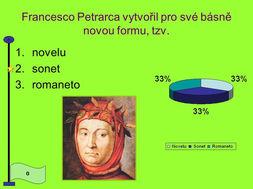 Petrarcovou inspirací milostné poezie byla šlechtična 0 5 1.Laura 2.Julie 3.Beatrice