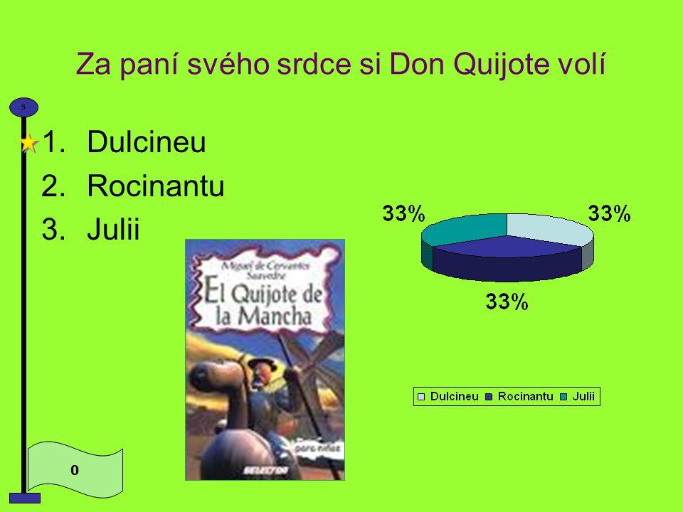 Zašlou slávu rytířství chce obnovit zchudlý šlechtic 0 5 1.Don Quijote 2.Sancho Panza 3.Rocinante