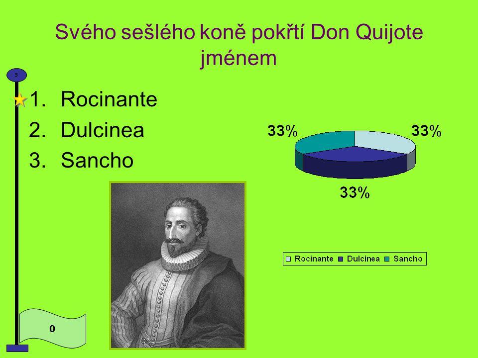 Za paní svého srdce si Don Quijote volí 0 5 1.Dulcineu 2.Rocinantu 3.Julii