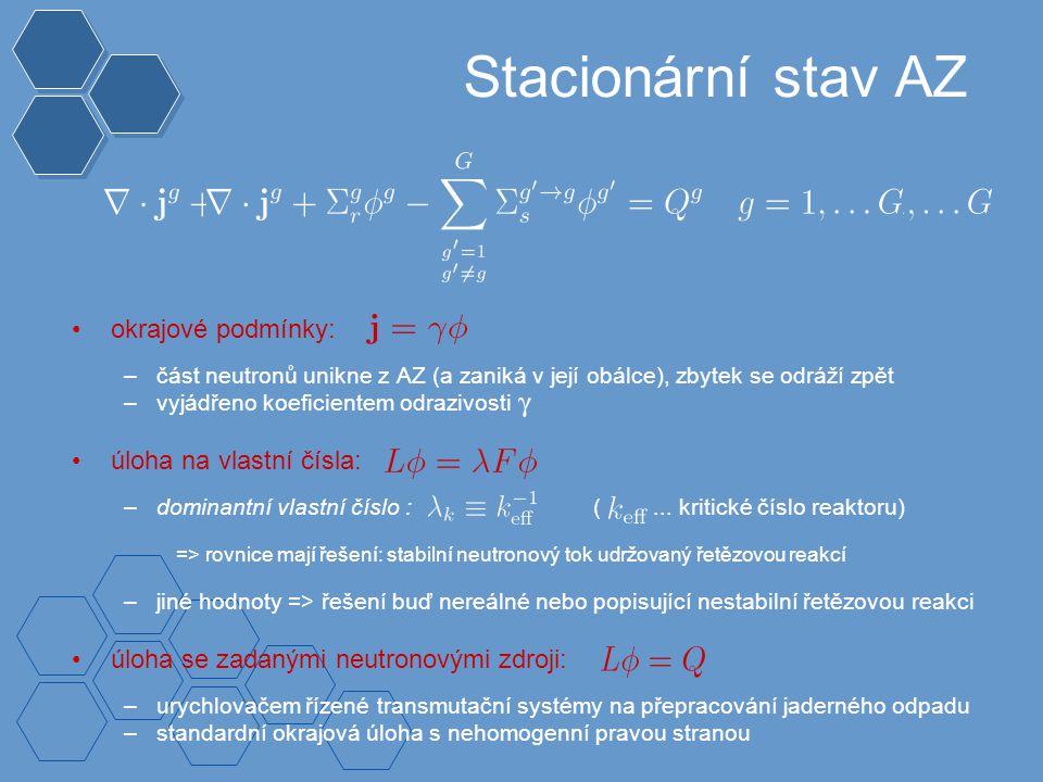 Stacionární stav AZ okrajové podmínky: –část neutronů unikne z AZ (a zaniká v její obálce), zbytek se odráží zpět –vyjádřeno koeficientem odrazivosti úloha na vlastní čísla: –dominantní vlastní číslo : (...