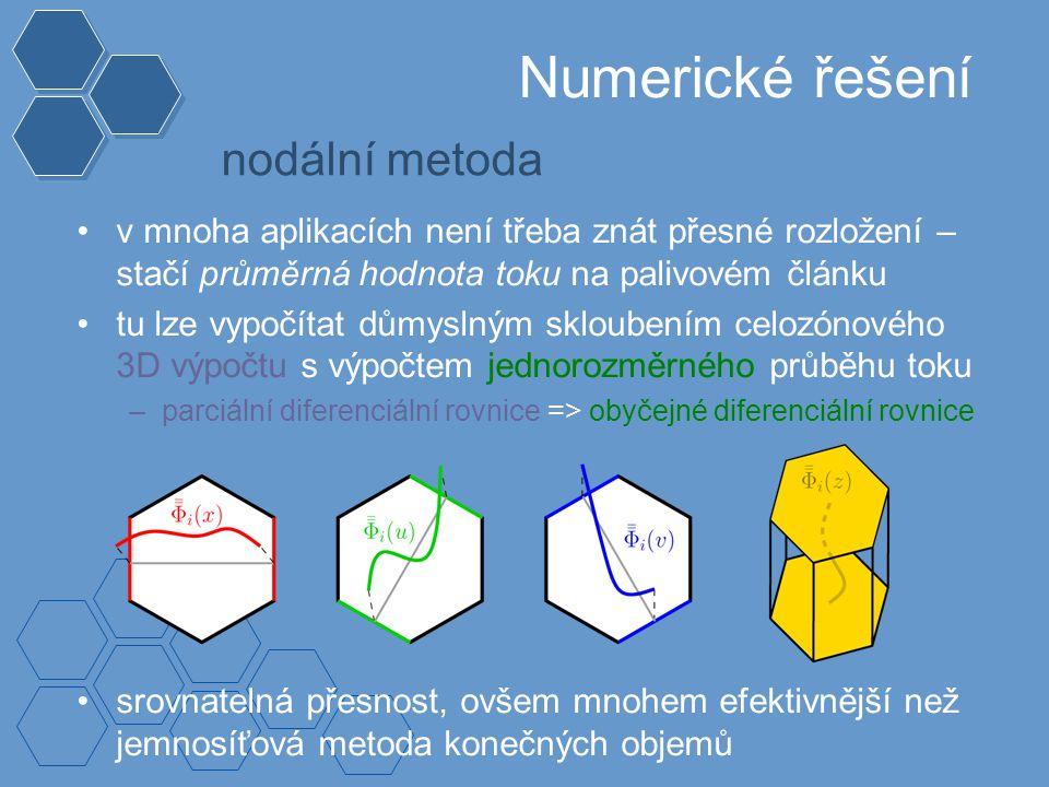 Numerické řešení nodální metoda v mnoha aplikacích není třeba znát přesné rozložení – stačí průměrná hodnota toku na palivovém článku tu lze vypočítat důmyslným skloubením celozónového 3D výpočtu s výpočtem jednorozměrného průběhu toku –parciální diferenciální rovnice => obyčejné diferenciální rovnice srovnatelná přesnost, ovšem mnohem efektivnější než jemnosíťová metoda konečných objemů
