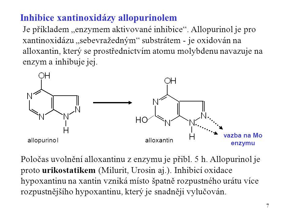 7 Inhibice xantinoxidázy allopurinolem Poločas uvolnění alloxantinu z enzymu je přibl.