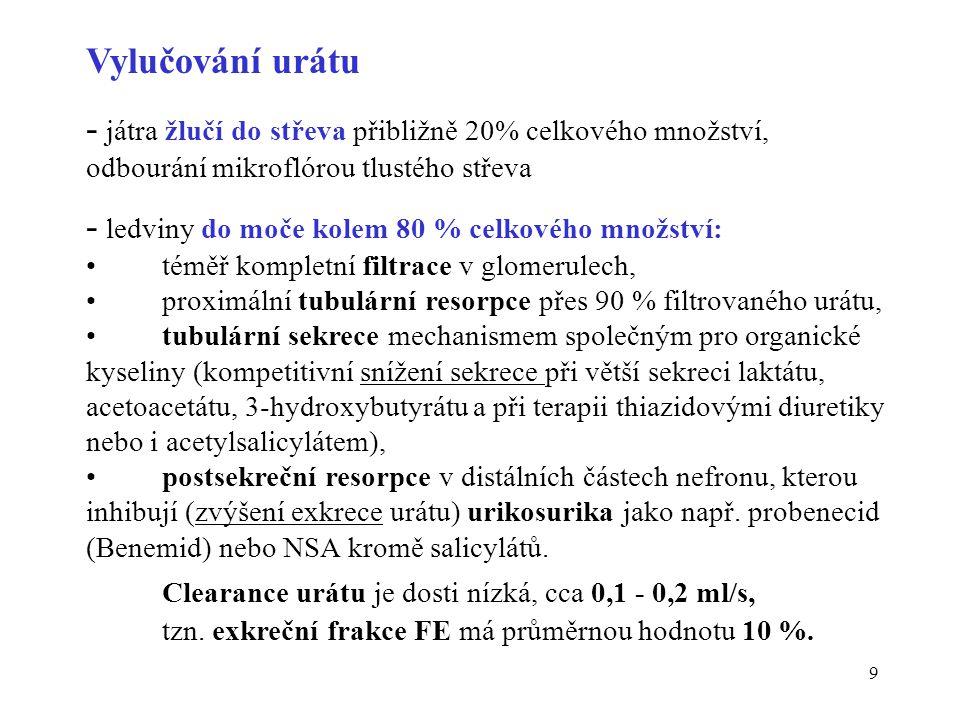 10 Vyšetření metabolismu purinů Základní: S-močová kyselina (urát, KM) muži 200 - 420  mol/l ženy 140 - 340  mol/l Pt(U)-KM průměrná strava 1,5 - 4,4 mmol/d (250 - 750 mg/d) nízkopurinová dieta < 2,5 mmol/d (< 420 mg/d) Kaufmanův index U- KM /U-kreatinin 0,2 - 0,4 (mmol/mmol) V případ ě hyperurikemie: S-močová kyselina po zátěži puriny clearance urátu a exkreční frakce urátu, vyloučit poškození ledvin detekce dyslipidemie, snížené glukosové tolerance, IChS, jaterní testy Speciální: Pt(U)-xantin, B-HGPRT, B-adenindeamináza