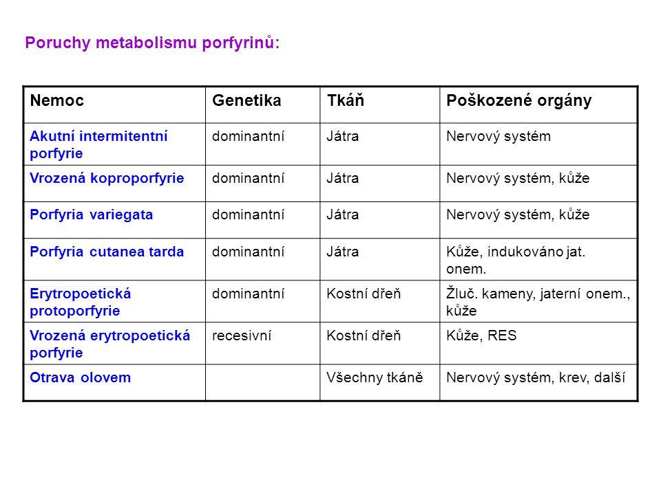 NemocGenetikaTkáňPoškozené orgány Akutní intermitentní porfyrie dominantníJátraNervový systém Vrozená koproporfyriedominantníJátraNervový systém, kůže