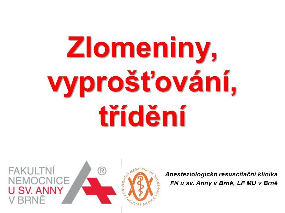Zlomeniny, vyprošťování, třídění Anesteziologicko resuscitační klinika FN u sv. Anny v Brně, LF MU v Brně