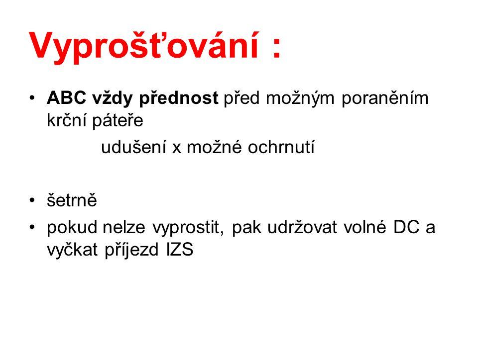 Vyprošťování : ABC vždy přednost před možným poraněním krční páteře udušení x možné ochrnutí šetrně pokud nelze vyprostit, pak udržovat volné DC a vyč