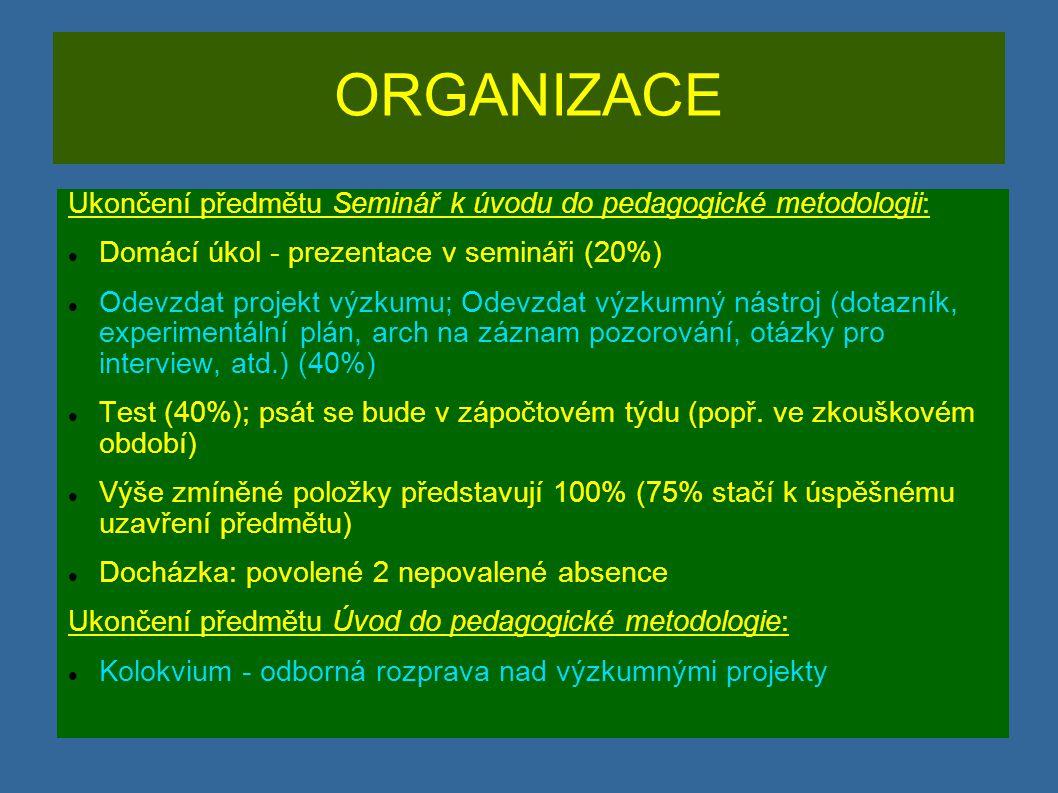 LITERATURA kvantitativní výzkum (postatné pro účely předmětu): GAVORA, P.
