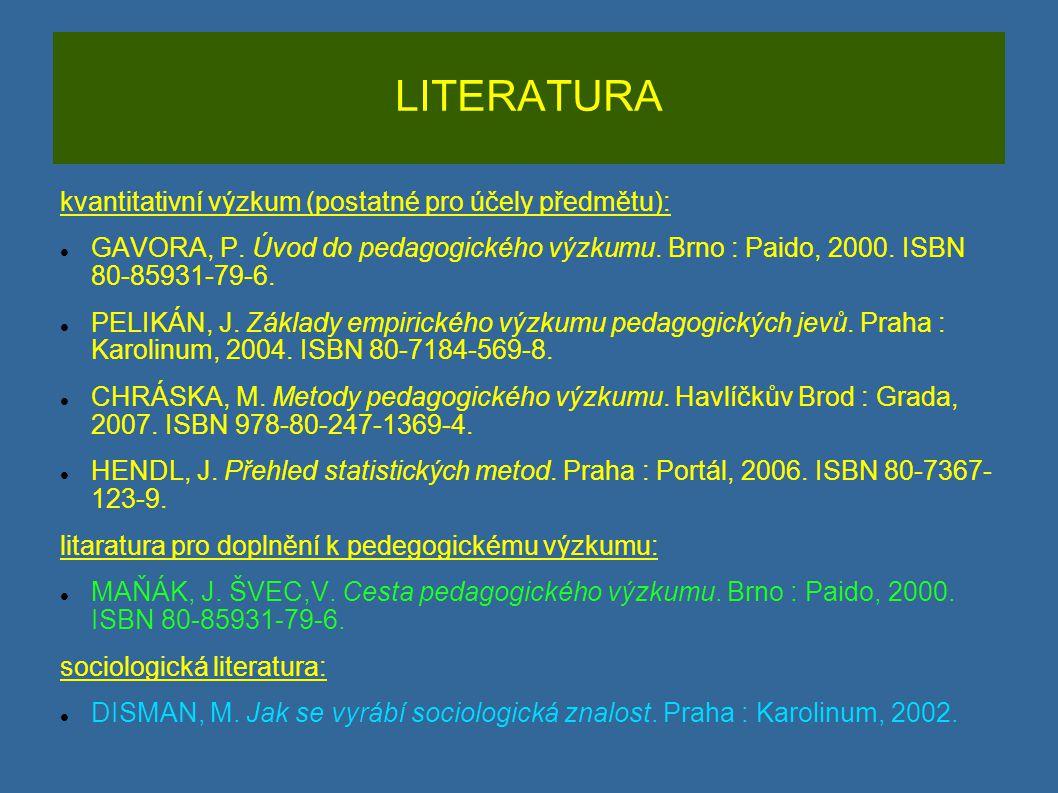 LITERATURA kvantitativní výzkum (postatné pro účely předmětu): GAVORA, P. Úvod do pedagogického výzkumu. Brno : Paido, 2000. ISBN 80-85931-79-6. PELIK