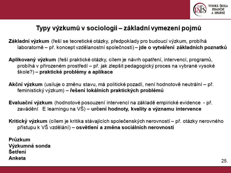 25. Typy výzkumů v sociologii – základní vymezení pojmů Základní výzkum (řeší se teoretické otázky, předpoklady pro budoucí výzkum, probíhá laboratorn