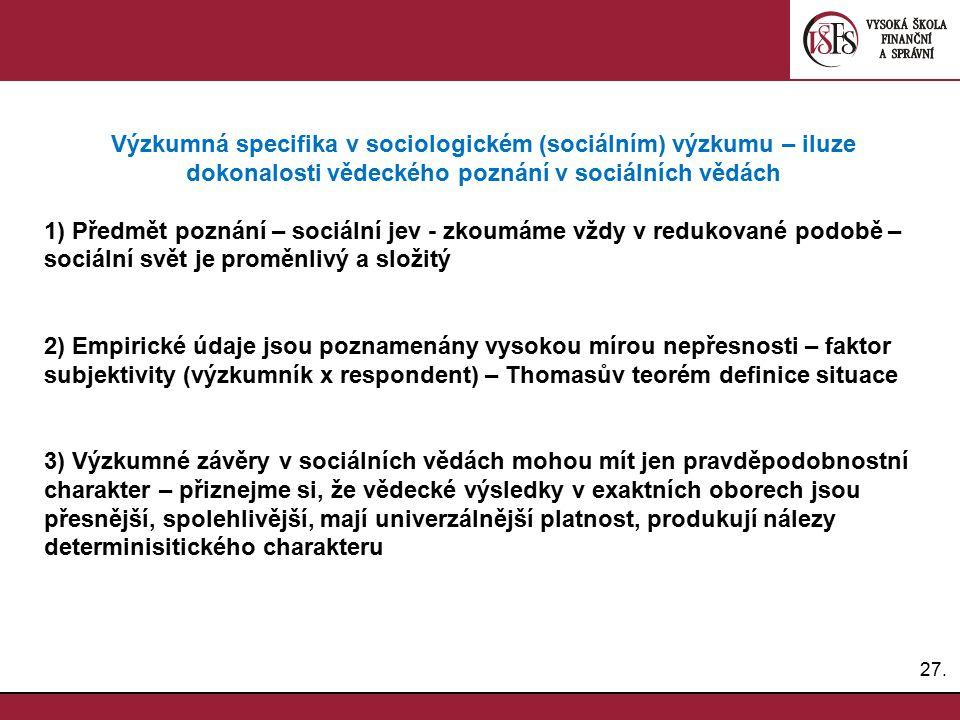 27. Výzkumná specifika v sociologickém (sociálním) výzkumu – iluze dokonalosti vědeckého poznání v sociálních vědách 1) Předmět poznání – sociální jev