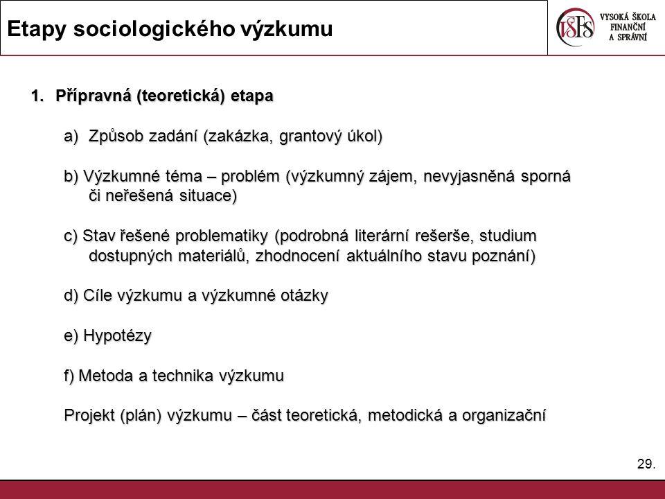 29. Etapy sociologického výzkumu 1.Přípravná (teoretická) etapa a)Způsob zadání (zakázka, grantový úkol) b) Výzkumné téma – problém (výzkumný zájem, n