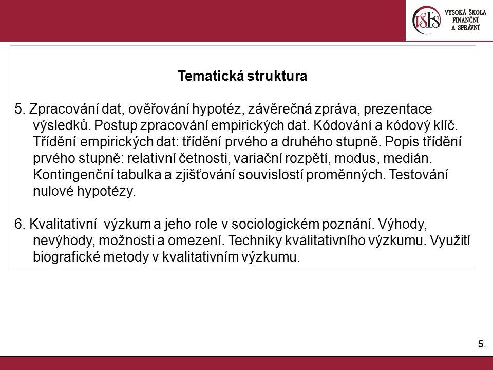 6.6.Povinná a doporučená literatura Zich, F. (2010): Úvod do sociologického výzkumu.