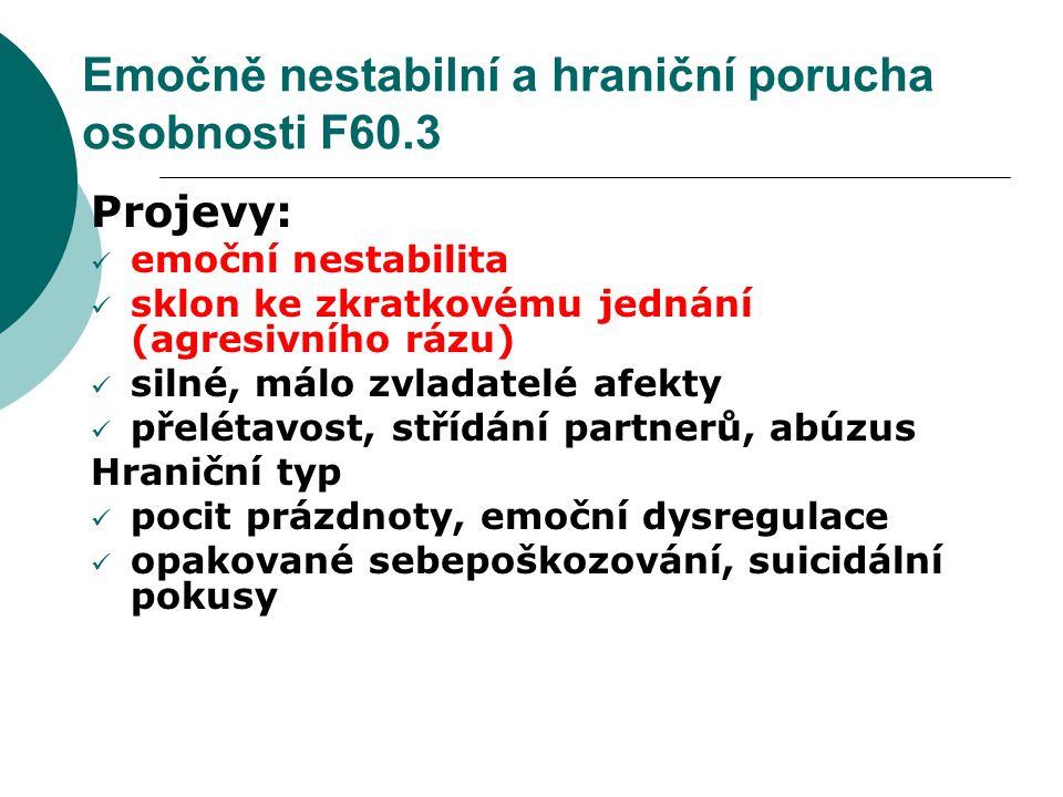 Emočně nestabilní a hraniční porucha osobnosti F60.3 Projevy: emoční nestabilita sklon ke zkratkovému jednání (agresivního rázu) silné, málo zvladatel