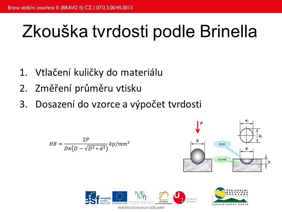 Zkouška tvrdosti podle Brinella 1.Vtlačení kuličky do materiálu 2.Změření průměru vtisku 3.Dosazení do vzorce a výpočet tvrdosti