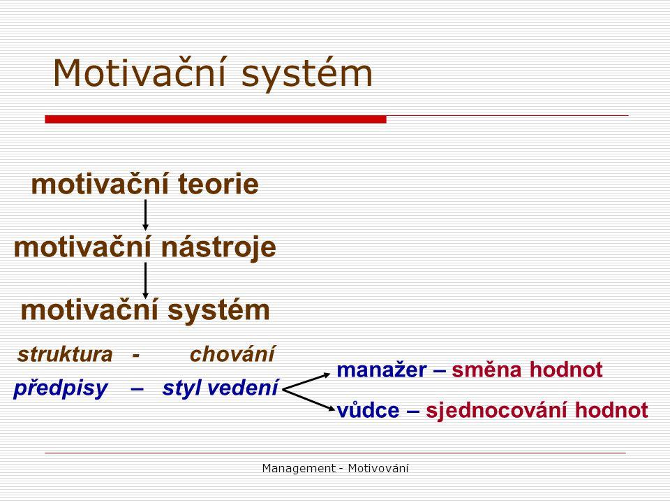 Management - Motivování motivační teorie motivační nástroje motivační systém struktura - chování předpisy – styl vedení manažer – směna hodnot vůdce – sjednocování hodnot Motivační systém