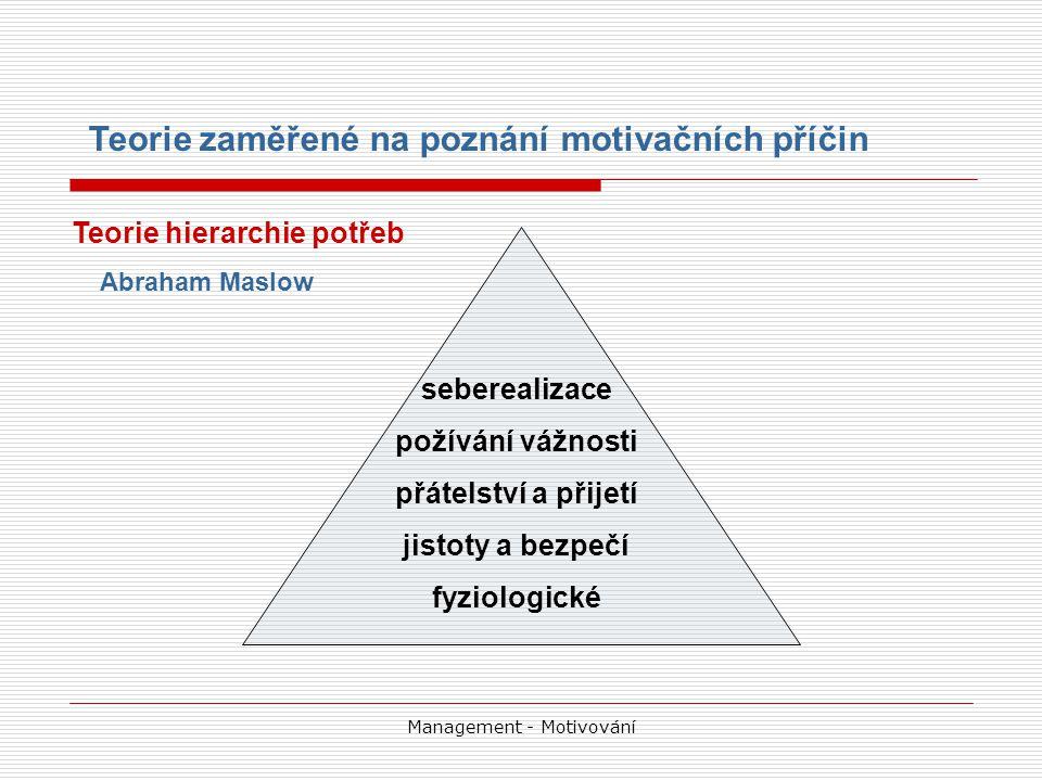 Management - Motivování seberealizace požívání vážnosti přátelství a přijetí jistoty a bezpečí fyziologické Teorie hierarchie potřeb Abraham Maslow Teorie zaměřené na poznání motivačních příčin