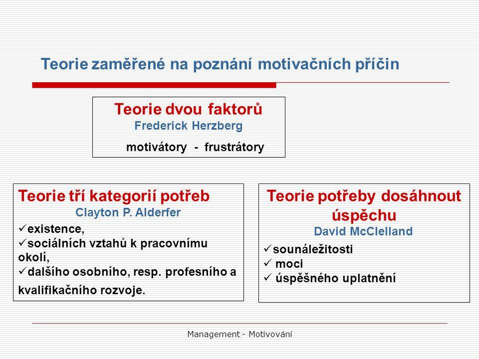 Management - Motivování Teorie dvou faktorů Frederick Herzberg motivátory - frustrátory Teorie zaměřené na poznání motivačních příčin Teorie tří kategorií potřeb Clayton P.