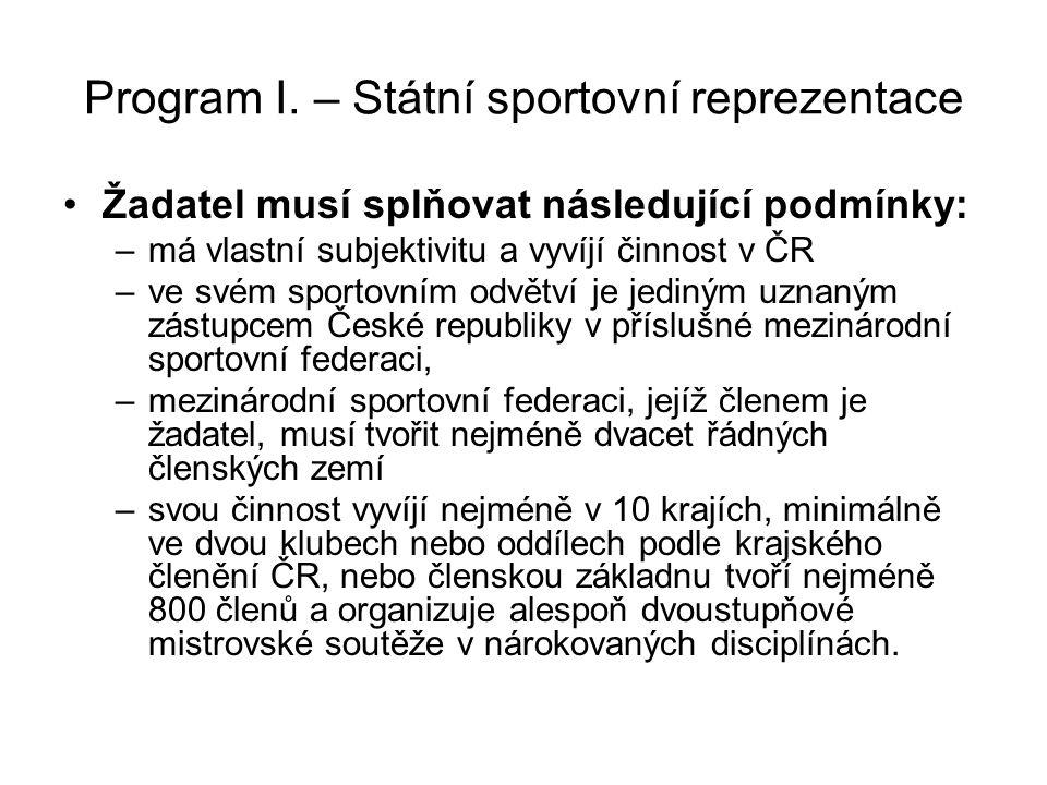 Program I. – Státní sportovní reprezentace Žadatel musí splňovat následující podmínky: –má vlastní subjektivitu a vyvíjí činnost v ČR –ve svém sportov