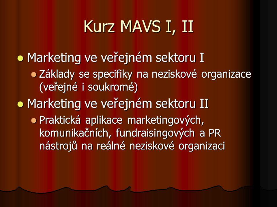 Kurz MAVS I, II Marketing ve veřejném sektoru I Marketing ve veřejném sektoru I Základy se specifiky na neziskové organizace (veřejné i soukromé) Zákl