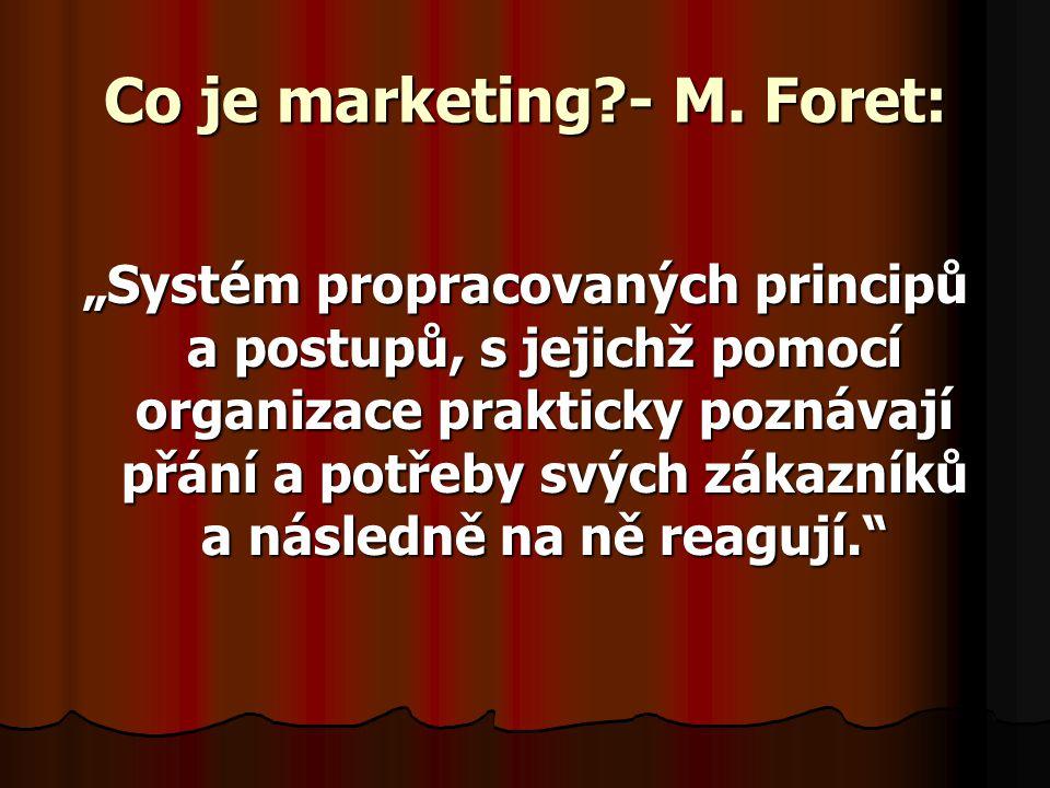"""Co je marketing?- M. Foret: """"Systém propracovaných principů a postupů, s jejichž pomocí organizace prakticky poznávají přání a potřeby svých zákazníků"""