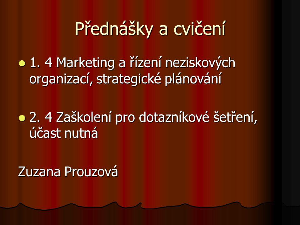 Přednášky a cvičení 1. 4 Marketing a řízení neziskových organizací, strategické plánování 1. 4 Marketing a řízení neziskových organizací, strategické