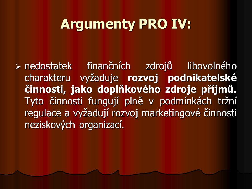 Argumenty PRO IV:  nedostatek finančních zdrojů libovolného charakteru vyžaduje rozvoj podnikatelské činnosti, jako doplňkového zdroje příjmů. Tyto č